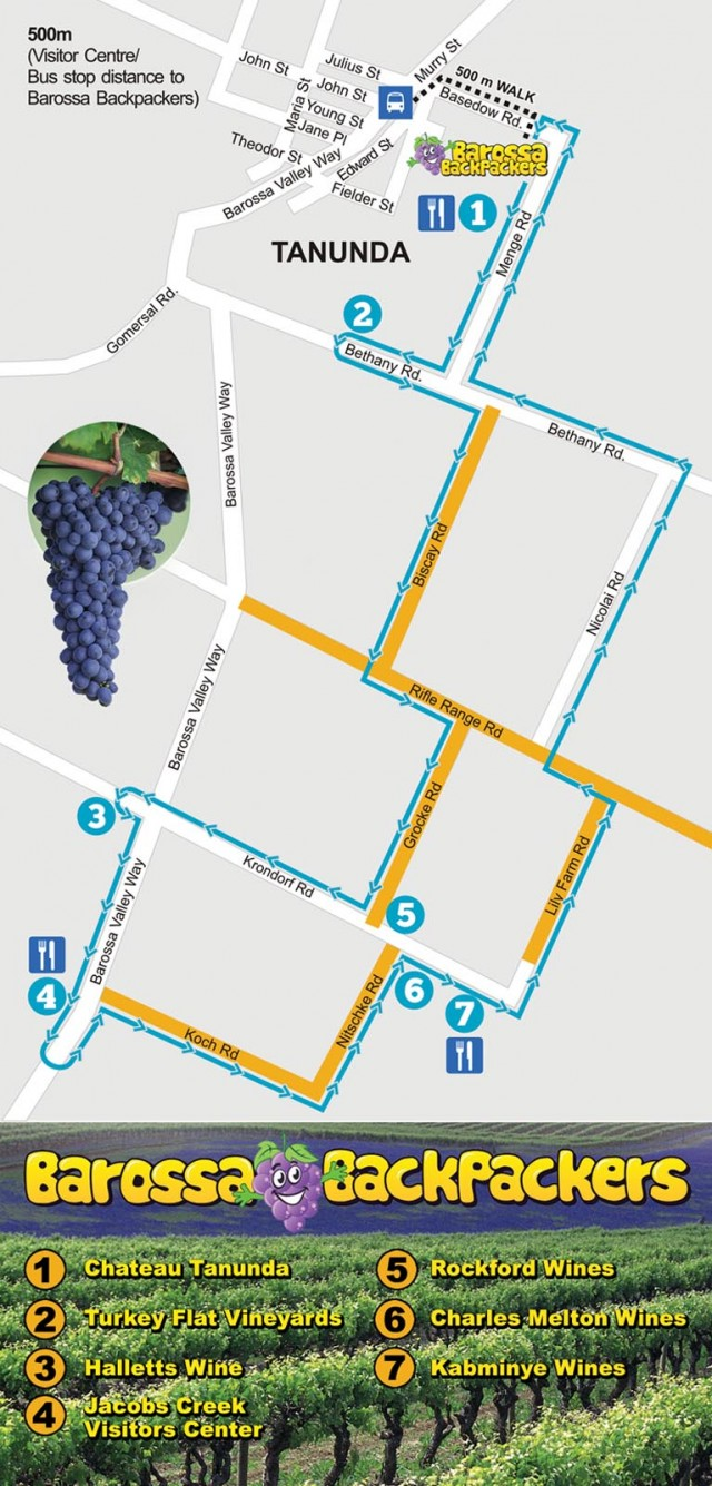 Bike Hire Barossa Valley Map 2